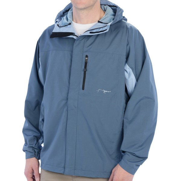 CLOSEOUTS . True Flies Safety Harbor rain coat is your reliable, breathable shelter for soggy days. Fully seam sealed, vented and ergonomically designed, it lets you cast comfortably and stay dry without overheating. Available Colors: FATHOM/WASHED SKY. Sizes: 2XL, XL, L, M, S.