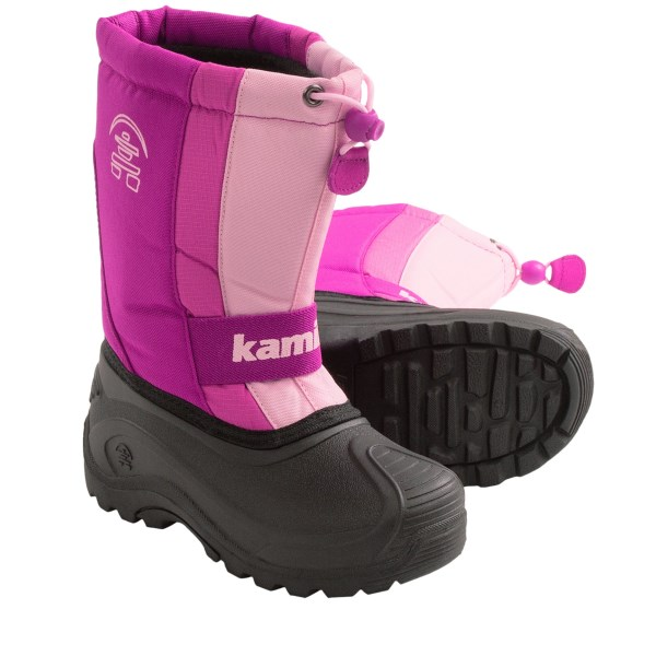 CLOSEOUTS . Thanks to Kamikand#39;s Freezone winter pac boots, your kiddo can explore the snow-covered lands easily. With a comfort rating of -25and#176;F, waterproof rubber foot and removable insulating liner, your kiddo will stay warm, dry and cozy. Available Colors: VIOLA, LAVENDER. Sizes: 1, 2, 3, 4, 5, 6.
