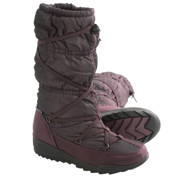 CLOSEOUTS . Treat the snowy sidewalk like your runway when you sport Kamikand#39;s Luxembourg winter snow boots. The waterproof nylon upper has a stylish print that gets played up by the fierce elastic lace-up construction for a truly show-stopping look. Plus,the DriDefense waterproof breathable membrane completely blocks out moisture. Available Colors: CHARCOAL, OYSTER, PLUM, DARK BROWN. Sizes: 6, 7, 8, 9, 10, 11.