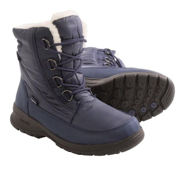 CLOSEOUTS . Enjoy the aftermath of a good snowfall when you sport Kamikand#39;s Baltimore winter snow boots. Constructed of DriDefense waterproof breathable membrane to completely block out moisture, with insulating lining to keep you warm and comfy. Available Colors: NAVY, BLACK, DARK BROWN. Sizes: 6, 7, 8, 9, 10, 11.