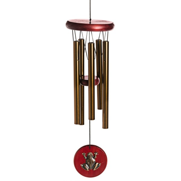 CLOSEOUTS . Youand#39;ll recognize notes of andquot;America the Beautifulandquot; as the wind catches Woodstock Chimesand#39; Habitats Collection frog wind chime, beautifully crafted using bubinga-finished pine and bronzed aluminum. Available Colors: BRONZE.