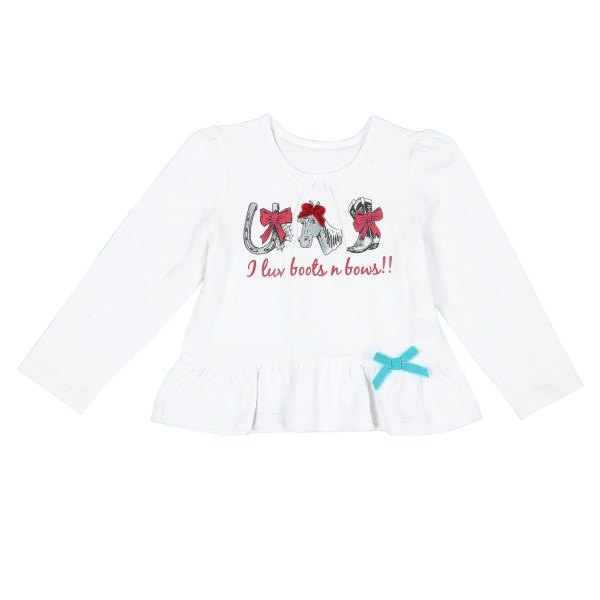 CLOSEOUTS . Your little rodeo queen will love the horse drawings and girly bows on this Wrangler Screenprint T-shirt. Simply styled with a little ruching at the neckline and a sweet ruffled hem Available Colors: WHITE. Sizes: 2T, 3T, 4T, 18M.