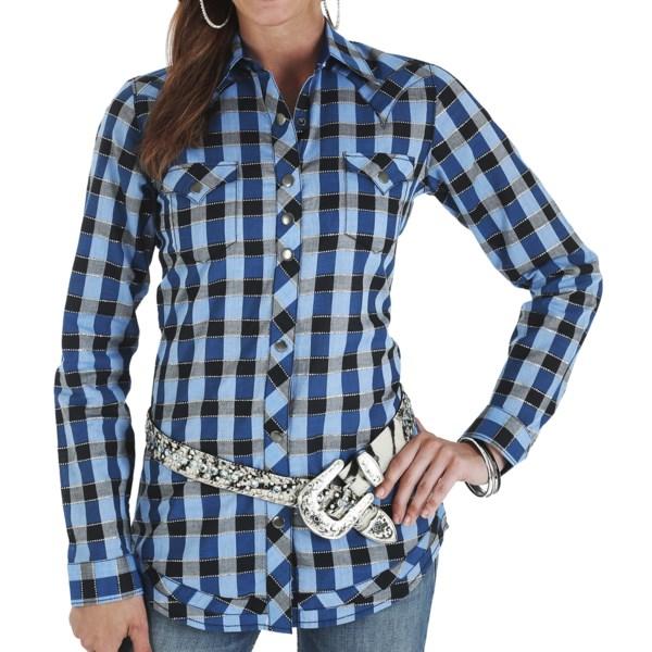 Wrangler Rock 47 Metallic Plaid Shirt - Snap Front, Long Sleeve (For Women)