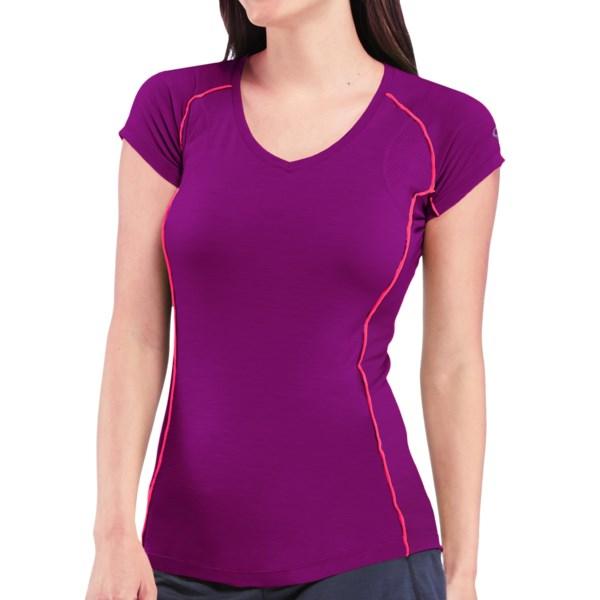 Icebreaker GT Flash V-Neck T-Shirt - Merino Wool, UPF 40 , Short Sleeve (For Women)