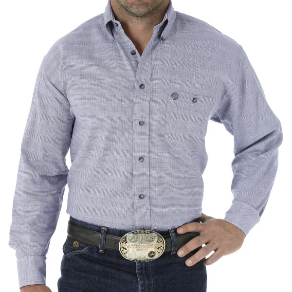 Wrangler George Strait Plaid Shirt - Long Sleeve (For Big and Tall Men)