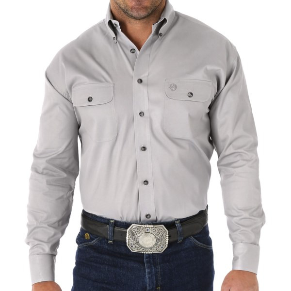 CLOSEOUTS . A refined-looking classic from the brandand#39;s George Strait collection, this Wrangler Solid shirt arrives in buttery soft luster twill and is yarn dyed to create a richer, longer-lasting hue. Available Colors: MALLARD, ICE GREY. Sizes: 3X-BIG, L-TALL, XL-TALL, L, 2X-TALL, XL, 3X-TALL, 2XL, S.