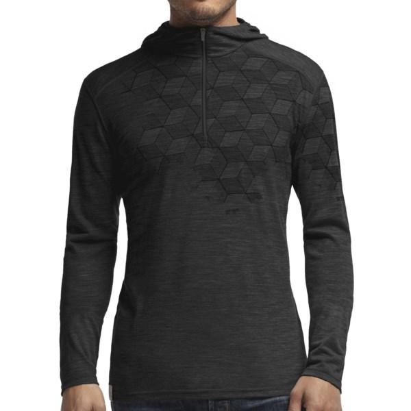 Icebreaker Bodyfit 200 Cubert Koch Snowflake Hoodie - UPF 30 , Merino Wool, Zip Neck (For Men)