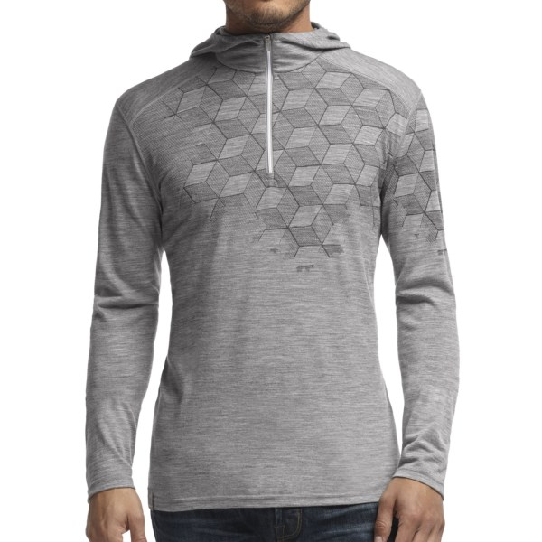 Discontinued . A highly technical hoodie made of lightweight 200g merino wool, Icebreakerand#39;s Cubert Koch Snowflake hooded base layer top is naturally antimicrobial and features a zip neck for temperature regulation. Available Colors: BLACK, METRO HEATHER. Sizes: S, M, L, XL, 2XL.