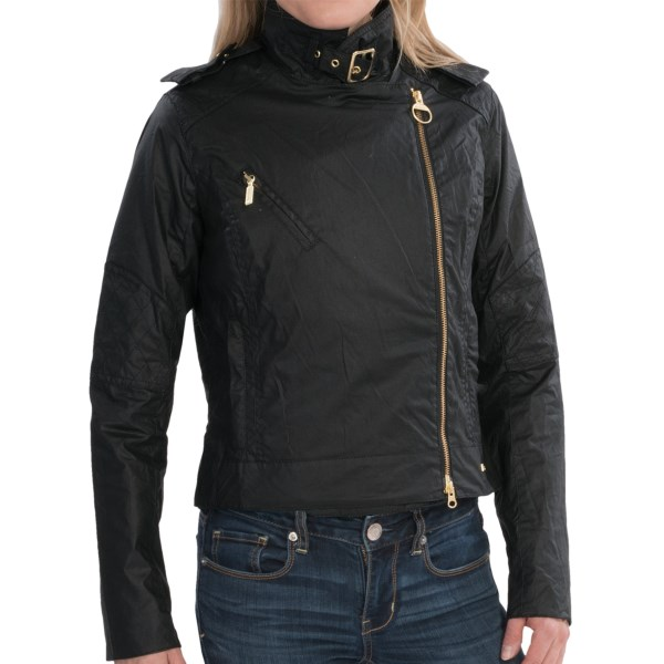 CLOSEOUTS . If youand#39;re a fan of street-wise biker styling, Barbourand#39;s Blane jacket should land on your wish list. The waxed cotton outer simulates leather, and the zip placement is edgy and effective. With colorful tartan plaid lining. Available Colors: BLACK. Sizes: 8, 10.