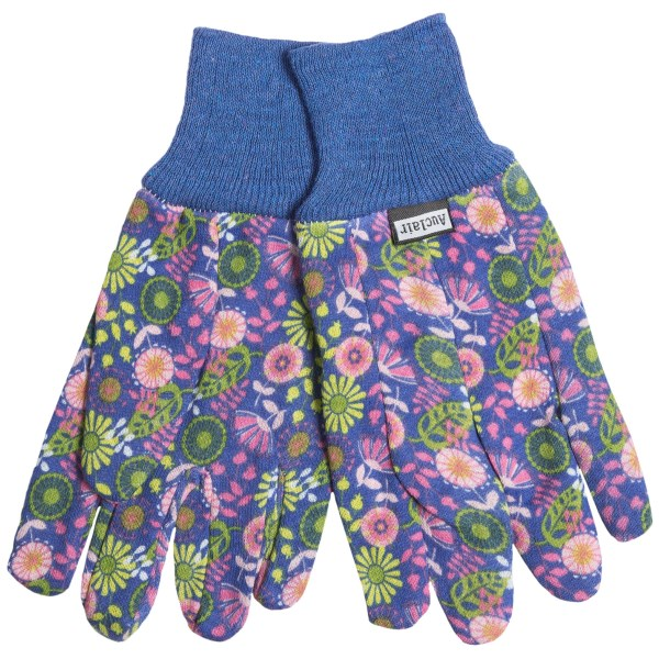 CLOSEOUTS . Tend to your garden with love when you wear these printed Auclair cotton twill garden gloves. Available Colors: ROYAL/WHITE GONE DOTTY, CORNFLOWER WILDFLOWERS, FERN BLOOMERS. Sizes: ONE SIZE.