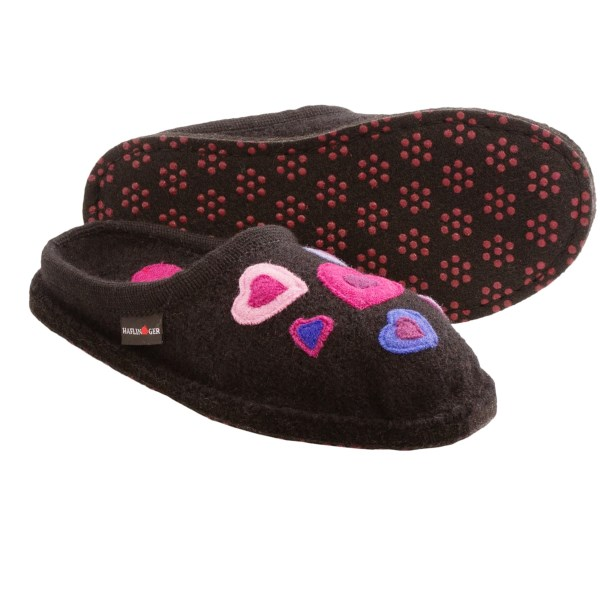 CLOSEOUTS . Declare your love for naturally temperature-regulating, moisture-wicking and breathable wool with Haflingerand#39;s Cupid Hearts slippers, made of 100% wool that provides comfy warmth in any season. Available Colors: BLACK, GREY, FUCHSIA. Sizes: 36, 37, 38, 39, 40, 41, 42.