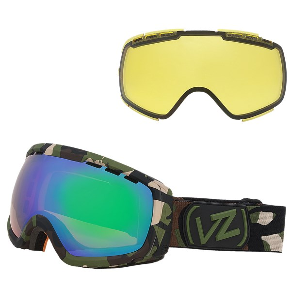 CLOSEOUTS . Whether youand#39;re a legitimate young gun or a savvy vet who lives to ride another day, Von Zipperand#39;s Feenom N.LS. goggles are a reliable on-snow partner. The oversized dual-spherical lenses have Barricade anti-fog protection and triple-density face foam. Available Colors: TAMOUFLAGE / QUASAR CHROME, VIBRATIONS / LOCUST CHROME, WHITE GLOSS / BLACK CHROME.