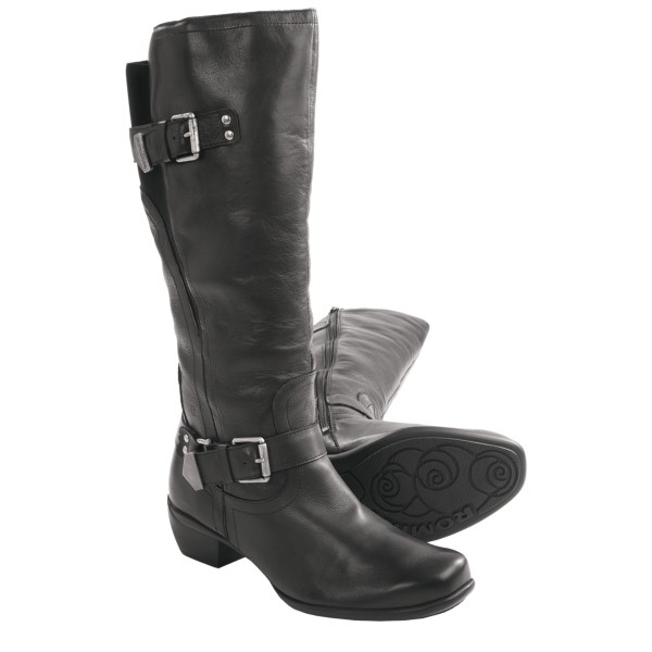 CLOSEOUTS . You can never go wrong when buttery soft leather and buckles combine, as Romikaand#39;s Anna 11 boots prove -- further enhanced by a flexible back gore to accommodate a variety of calf sizes and a cushioned, anatomical footbed for support. Available Colors: BLACK, BROWN. Sizes: 36, 37, 38, 39, 40, 41, 42.