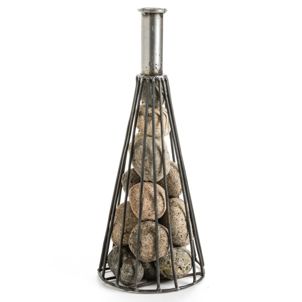 CLOSEOUTS . Tumbling river stones collect inside this sturdy Ancient Graffiti wine cone bottle, an organic accent to your modern home. Available Colors: SEE PHOTO.