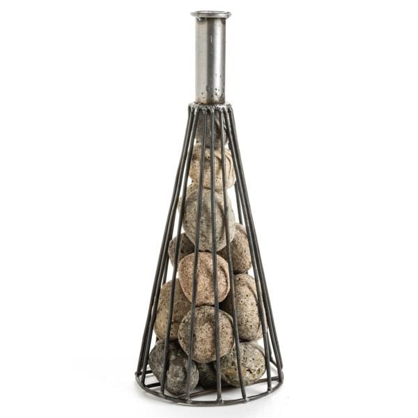 Ancient Graffiti Wine Cone Bottle with River Stones - 12.5?