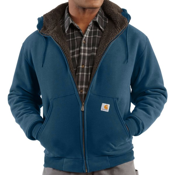 CLOSEOUTS . An incredibly warm hoodie with the durability youand#39;ve come to expect from the brand, Carharttand#39;s Collinstonand#39;s sweatshirt features a plush sherpa-lined body that layers on the warmth. Available Colors: STREAM BLUE. Sizes: M, L, XL, 2XL.