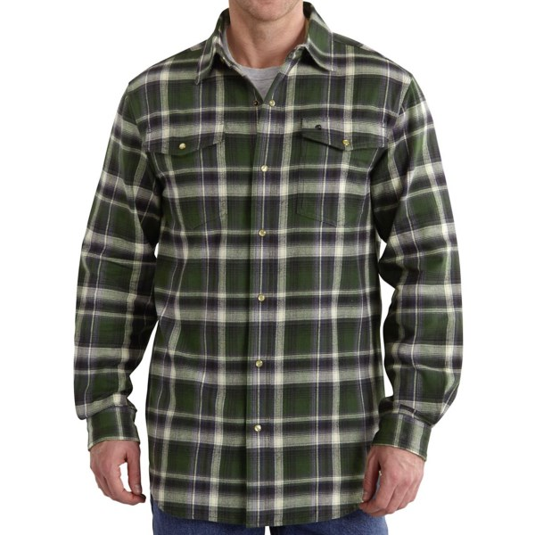 CLOSEOUTS . Built to take on whatever the jobsite or the weekend can throw at it, Carharttand#39;s Trumbull shirt is made from heavyweight cotton flannel, and the Trumbull is no lightweight when it comes to style thanks to the classic pattern and pearlized button detail. Available Colors: SHADOW, DUFFLE BAG GREEN, NAVY. Sizes: M, L, XL, 2XL.