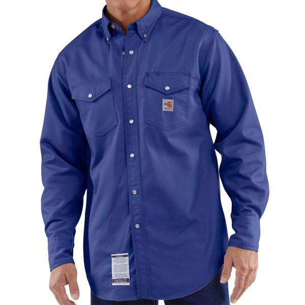 CLOSEOUTS . Ready for whatever the jobsite has in store, Carharttand#39;s flame-resistant shirt is made from a 7 oz. twill blend that meets NFPA 70E standards and features a snap-button front along with snap-flap chest pockets. Available Colors: ROYAL. Sizes: M, L, XL, 2XL.