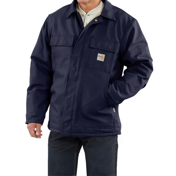 2NDS . Carharttand#39;s Flame-Resistant Duck traditional coat boasts the durability and protection of a 13 oz. flame-resistant cotton duck shell, a warm quilted lining and flame-resistant rib-knit cuffs. Available Colors: CARHARTT BROWN, DARK NAVY, BLACK. Sizes: S, M, L, XL, 2XL.