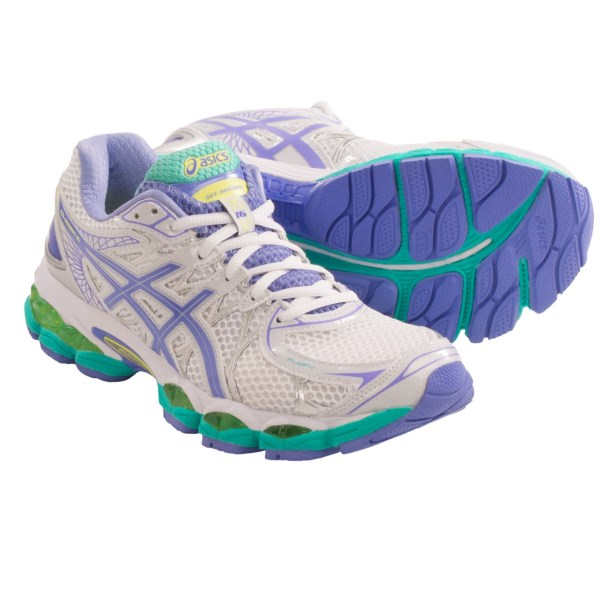 CLOSEOUTS . A plush, cushioned ride and stiff, stable platform help Asicsand#39; GEL-Nimbus 16 running shoes enhance your natural stride for a focused, balanced run. Available Colors: WHITE/PERIWINKLE/MINT, HOT PINK/GREEN/BLACK, LIGHTNING/WHITE/TURQUOISE. Sizes: 5, 5.5, 6, 6.5, 7, 7.5, 8, 8.5, 9, 9.5, 10, 10.5, 11, 11.5, 12.