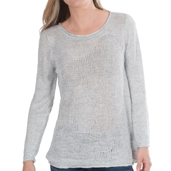 CLOSEOUTS . A melange of ice-grey yarns, Lafayette 148 New Yorkand#39;s Moss Intarsia sweater gets its one-of-a-kind character from the subtly undulating patterns. Youand#39;ll love the summer-friendly weight, too -- a loosely knit blend of linen, viscose and nylon. Available Colors: ICE MELANGE. Sizes: P, S, M, L, XL, 2XL.