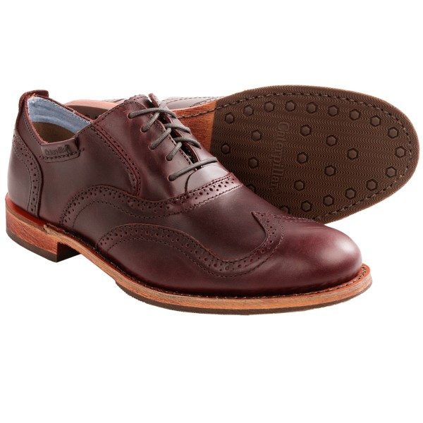 CLOSEOUTS . The Caterpillar Dougald shoe combines old-world style and legendary craftsmanship. The classic wingtip brogue sets you apart from the cubicle crowd, and the traction rubber outsole delivers a sure step as you make your way to the corner office. Available Colors: OXBLOOD. Sizes: 8.5, 9, 9.5, 10, 10.5, 11, 11.5, 12, 13.