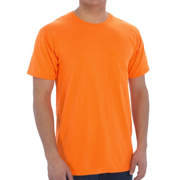 CLOSEOUTS . Fruit of the Loomand#39;s Work Gear pocket T-shirts are made to work just as hard as the man who wears them, thanks to reinforced stitching and moisture-wicking cotton. Available Colors: BLACK, SAFETY ORANGE, SAFETY GREEN. Sizes: M, L, XL, 2XL.