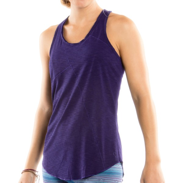 CLOSEOUTS . A silky mesh-panelled racerback and pretty asymmetric seaming in the front brings a touch of style to Moving Comfortand#39;s Metro tank top, an active-ready, airy-light companion thatand#39;s happy to play nice with your sports bra. Available Colors: BLACK, CRUSH, GEM. Sizes: XS, S, M, L, XL, 1X, 2X.
