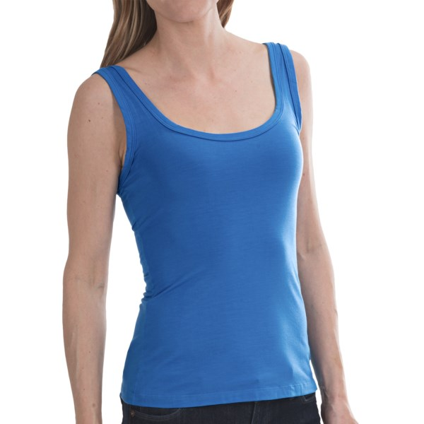 CLOSEOUTS . Viscose jersey may not sound like anything special, but the signature Italian fabric used in Cosabellaand#39;s Talco camisole is rich indeed. Its wonderfully soft and breathable hand makes it a popular choice for the yoga studio, and the colorfast dyes hold up to washing and look lovely layered under your warmer-season jackets. Available Colors: ATLANTIC BLUE, PERSIMMON, SWEET VIOLET. Sizes: S, M, L.