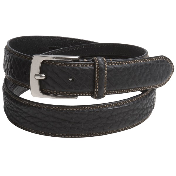CLOSEOUTS . A touch of rugged style in a versatile, matte finish, Woolrichand#39;s Richmond belt is a durable, rich bison leather strap with double-stitched edges and a solid, brushed silver buckle. Available Colors: BLACK, BROWN. Sizes: M, L, XL.
