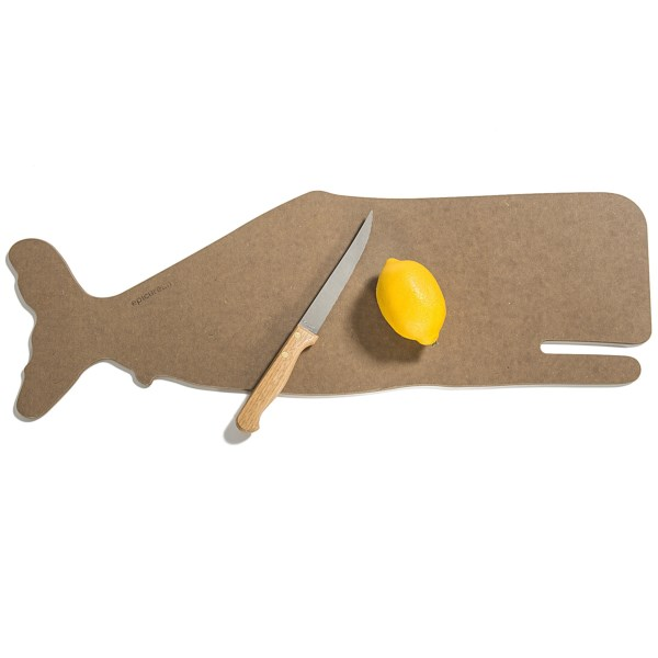 2NDS . Sustainably harvested from American wood and food-safe resin, Epicureanand#39;s Animal Shape cutting board is a fun way to prep your food and bring it to the table. Easy on your knives, itand#39;s also heat resistant for use as a trivet. Available Colors: NATURAL ROOSTER, NATURAL SALMON, NATURAL WHALE, NUTMEG SALMON, NUTMEG BASS, NUTMEG WHALE.