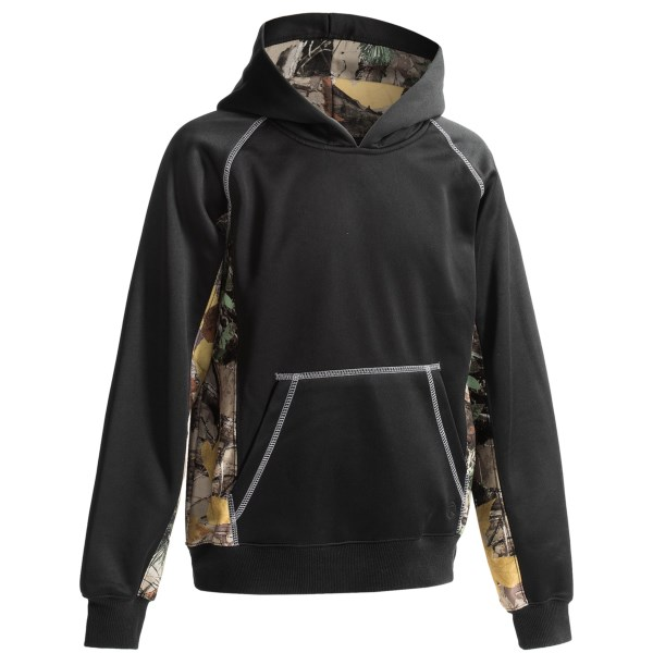 CLOSEOUTS . A step up from the average hoodie, Roperand#39;s bonded fleece hoodie combines a sleek, flexible soft shell exterior with warm fleece backing to create a powerful force against the cold. Available Colors: BLACK, BROWN CAMO. Sizes: XS, S, M, L, XL.