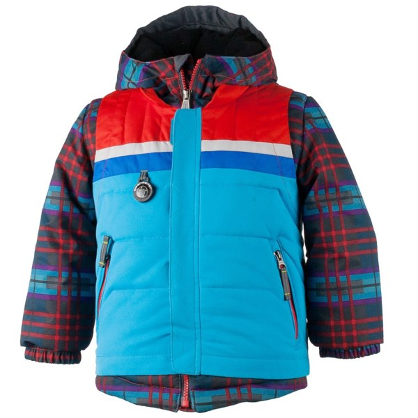 CLOSEOUTS . Just the thing to enhance his rocking cool slope style, Obermeyerand#39;s Grom ski jacket is as sweet looking as it is technical. The faux vest gives it a sporty layered look; the colors are amazing (let him pick out his own!); and the technology keeps him warm and dry. Plus moms love the I-Grow System, which is likely to afford another season or two of use. Available Colors: LAVA, EL WOLF PLAID, JADE, LIGHTSABER, QUAD PRINT. Sizes: 2, 3, 4, 5, 6, 7, 8.