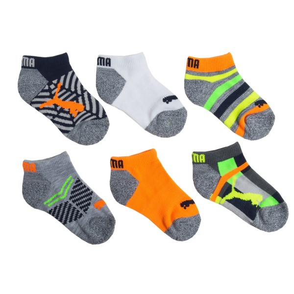 Puma Fluorescent Pattern Socks - Below-the-Ankle, 6-Pack (For Boys)
