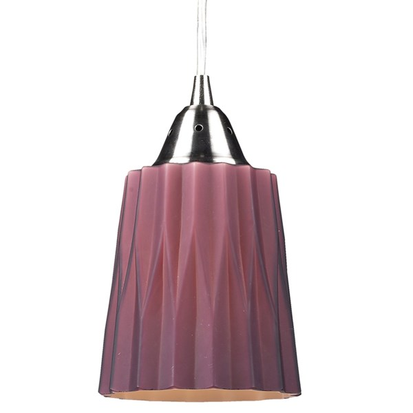CLOSEOUTS . If youand#39;re going for an edgy bistro-style atmosphere, youand#39;ll love the look of Elk Lightingand#39;s Angles pendant light. The uniquely andquot;corrugatedandquot; globe is meticulously hand blown and designed to evenly spread the warm glow of the bulb within. Available Colors: BEIGE, PURPLE, WHITE.