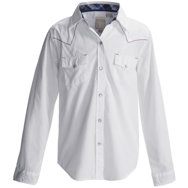 Roper Solid Western Shirt - Snap Front, Long Sleeve (For Girls)