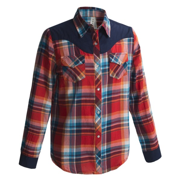Roper Retro Plaid Shirt - Snap Front, Long Sleeve (For Girls)