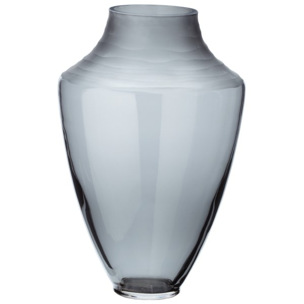 CLOSEOUTS . The elegantly shaped Lazy Susan Spin Cut Shadow vase is a robust, hazy gray vessel with frosted waves adorning the top. It makes a handsome stand-alone piece or container for dried or fresh-cut florals. Available Colors: GRAY.