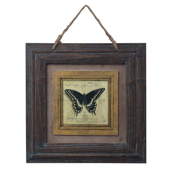 CLOSEOUTS . A handsome piece of decor for the den or any rustic room in your home, this Sterling English Harden Oak picture frames a butterfly print -- rendered to simulate an actual mounted butterfly and complete with scientific notations. Available Colors: BUTTERFLY.
