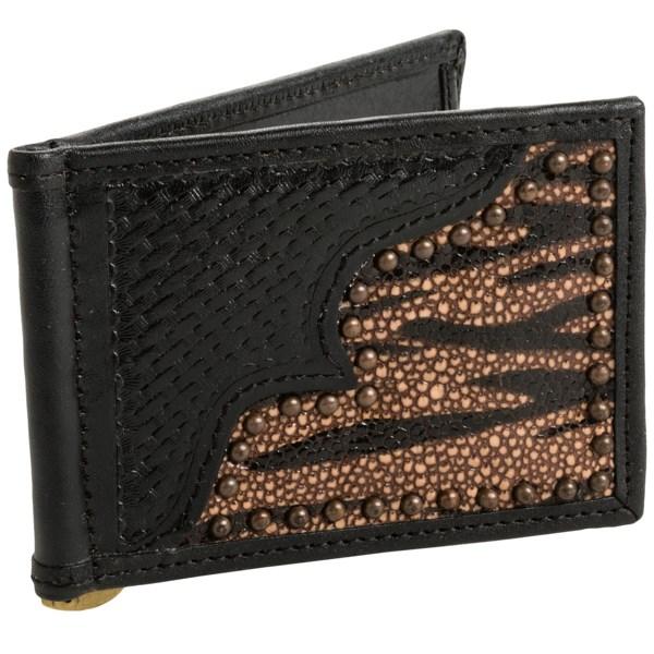Roper Front Pocket Money Clip Wallet - Hand-tooled Leather (for Men)