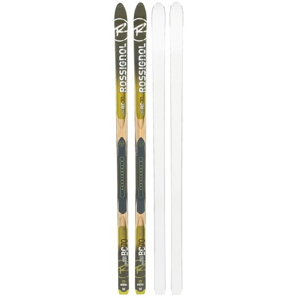 CLOSEOUTS . Rossignoland#39;s BC 70 Positrack waxless touring skis excel when you go off-trail thanks to the Positrack base that delivers superior grip and the low-density core that offers durable performance in a lightweight design. Available Colors: SEE PHOTO.