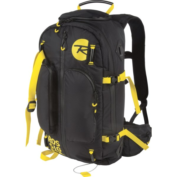 CLOSEOUTS . Rossignoland#39;s The App backpack is designed for backcountry skiers seeking convenient access, durable construction and a comfortable fit. The main compartment is accessible from the front or back panel, thereand#39;s a retractable cable for carrying skis, and multiple padded pockets keep accessories within reach. Available Colors: BLACK/YELLOW.