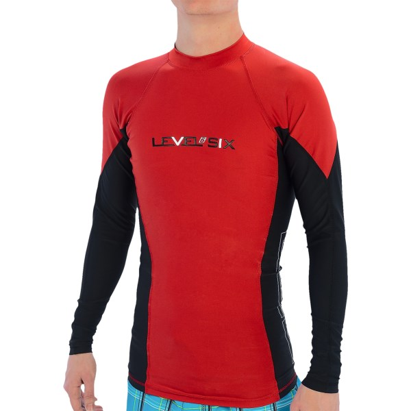 CLOSEOUTS . Head for the water in the quick-drying comfort of the Level Six Mercury rash guard. UPF 50  sun protection keeps harmful rays at bay, and the flatlock seams make chafing a thing of the past. Available Colors: COASTLINE BLUE/WHITE, WHITE/COASTLINE BLUE, CRIMSON RED/WHITE, BLACK, COASTLINE BLUE/ORANGE, BRIGHT RED/BLACK, WHITE/KIWI GREEN. Sizes: S, XL, M, L, 2XL.