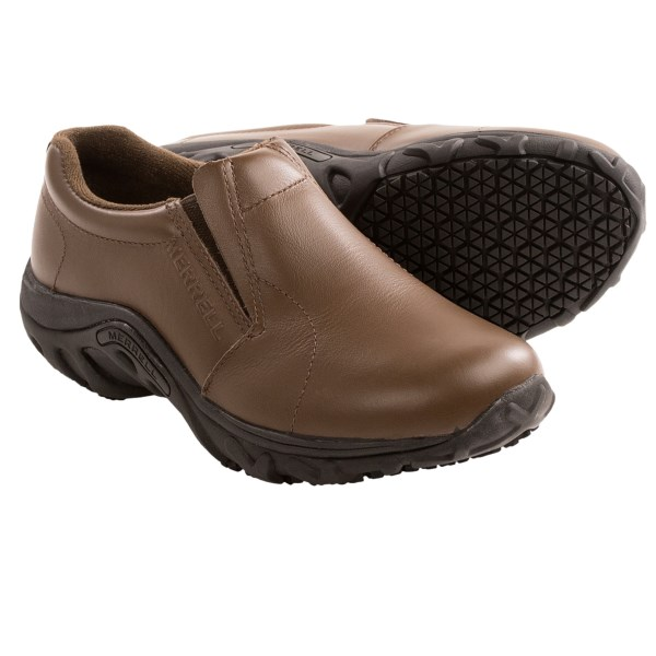 CLOSEOUTS . Excellent shoes for high-paced, on-your-feet-all-day work environments, Merrelland#39;s Jungle Moc Pro Grip work shoes combine a flexible, wipe-clean leather upper with lightweight construction and non-marking, water-channeling SureGripand#174; traction soles. Available Colors: BROWN. Sizes: 5, 5.5, 6, 6.5, 7, 7.5, 8, 8.5, 9, 9.5, 10, 10.5, 11.