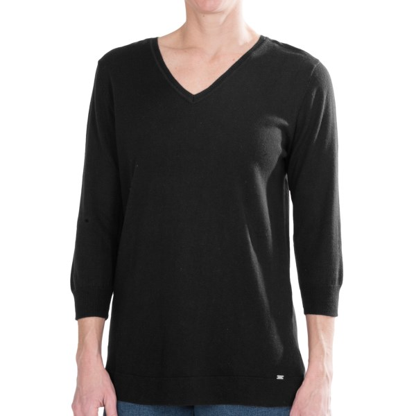 CLOSEOUTS . Luxuriate in the supersoft cotton-viscose-silk knit of FDJ French Dressings cotton blend V-neck sweater. The timeless V-neck design is easy to accessorize and layer. Available Colors: BLACK, INK, OATMEAL MIX, WINE, WINTER WHITE. Sizes: XS, S, M, L, XL, 2XL.