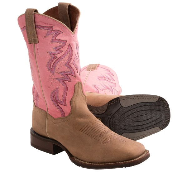 CLOSEOUTS . Modern cowgirl appeal in a sturdy, grippy design thatand#39;s ready to take on everything from horseback riding to foot-stompinand#39; good times at a summer country concert! Dan Postand#39;s Mystic cowboy boots feature a cute, short-shaft design with a bold pink shaft and cute square-toe design. Available Colors: PINK/TAN. Sizes: 6, 6.5, 7, 7.5, 8, 8.5, 9, 9.5, 10, 11.