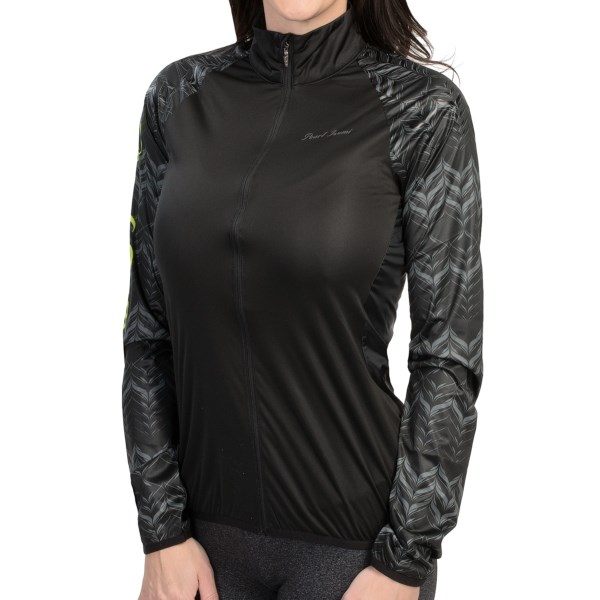 CLOSEOUTS . Offering featherweight protection against wind and water, Pearl Izumiand#39;s Ultra jacket is well vented, packs into its own pocket, and features an abrasion print on the shoulders to hold pack straps in place. Available Colors: BLACK, ORCHID. Sizes: L, XL, M, XS, S.