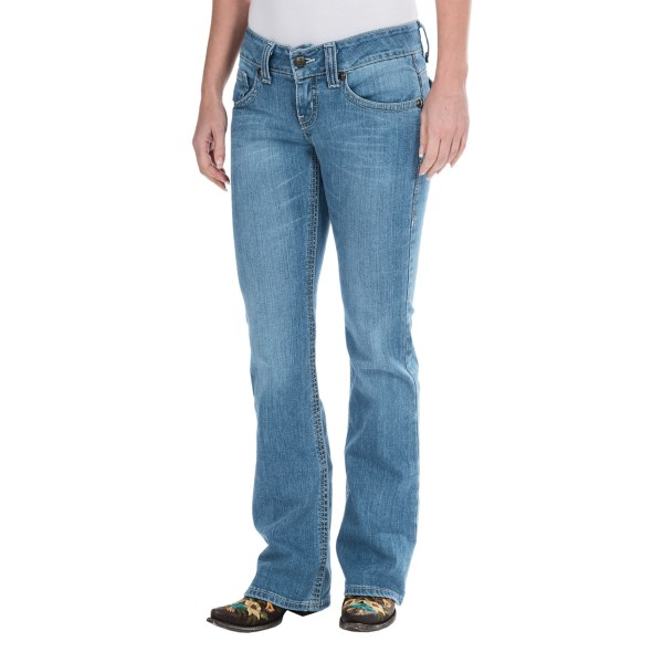 CLOSEOUTS . Brass nailheads and white leather trim accent the back pockets of Cruel Girland#39;s Kadee slim fit jeans, styled with a low rise and andquot;super bootcutandquot; leg thatand#39;s slightly more flared than a traditional bootcut. Available Colors: LIGHT STONE WASH. Sizes: 0, 1, 3, 5, 7, 9, 11, 13, 15, 00.