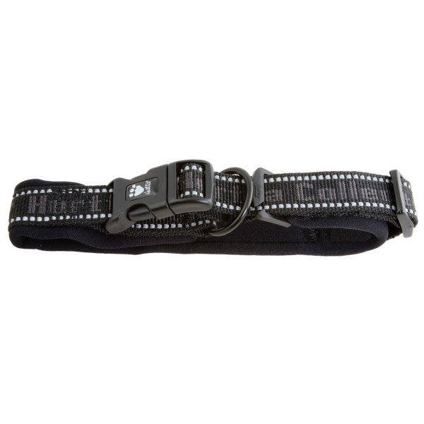 CLOSEOUTS . Hurttaand#39;s padded dog collar keeps your furry friend comfortable on walks with a padded, ergonomic design that softens pulling-caused stress placed on the neck and throat. Available Colors: BLACK. Sizes: 12, 14, 16, 18, 20, 22, 24, 26.