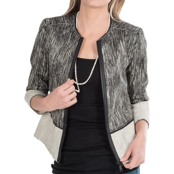 CLOSEOUTS . Contrasting tweed panels create chunky color blocks on this stylish little crop with chunky front zip. Elie Tahariand#39;s Paulina jacket blends right in with your wardrobe blacks and manages to be sophisticated and edgy all at the same time. Available Colors: BLACK/WHITE. Sizes: 4, 6, 8, 10, 12, 14.